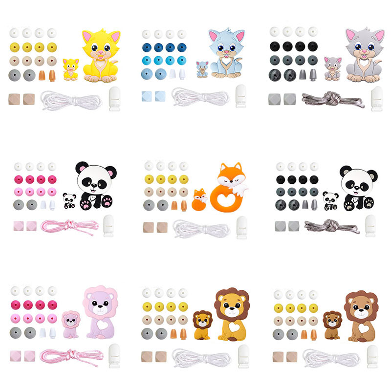 1Set Silicone Teether Wooden Beads Teething Rodent Panda Pendant DIY Necklace Infant Tooth Toys Pacifier Chain Clip Baby Product