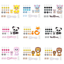 1Set Silicone Teether Wooden Beads Teething Rodent Panda Pen