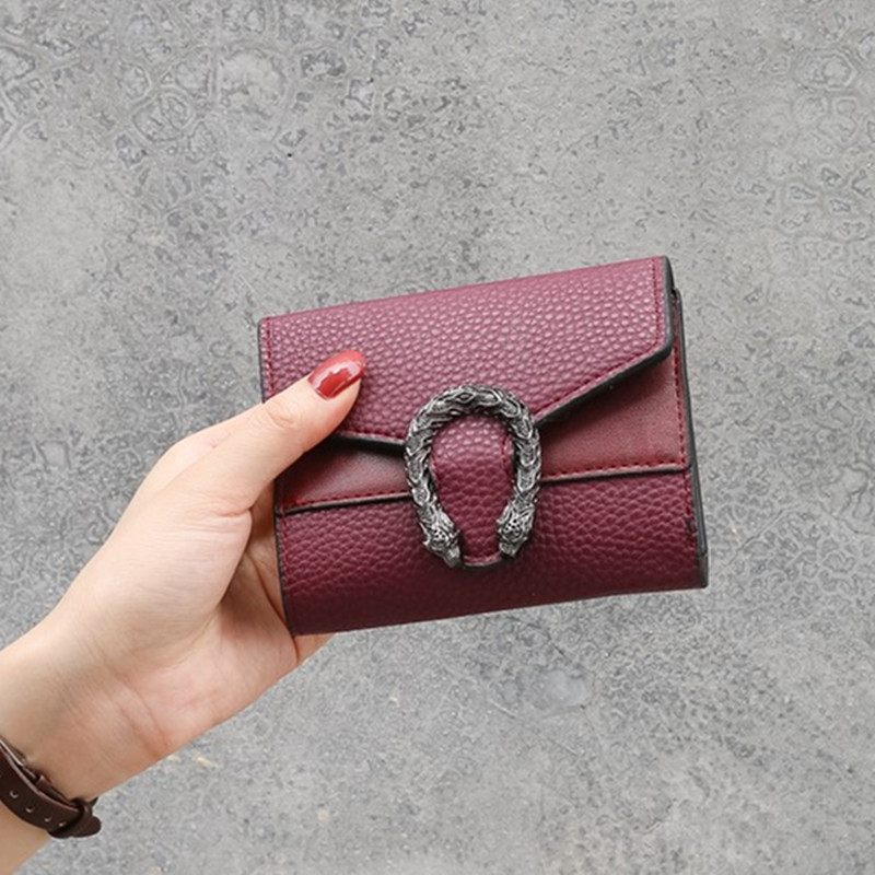 Vintga Magnet Buckle Wallets Purses Dragon Head For Women Girls Ladies Money Coin Pocket Card Holder Female Wallets Clutch Bag