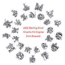 CodeMonkey 100% 925 Sterling Silver Letter 26 Alphabet Beads Charms Fit Charm Bracelets & Bangles DIY Accessories Jewelry C030-O