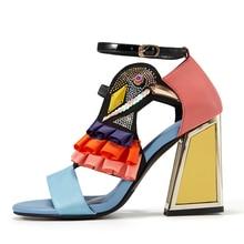 Nowe markowe buty na wysokim obcasie damskie letnie klapki Ruffles Bird Decor Party obcasy Bling Rhinestone Chunky Heel nowość Sandalias