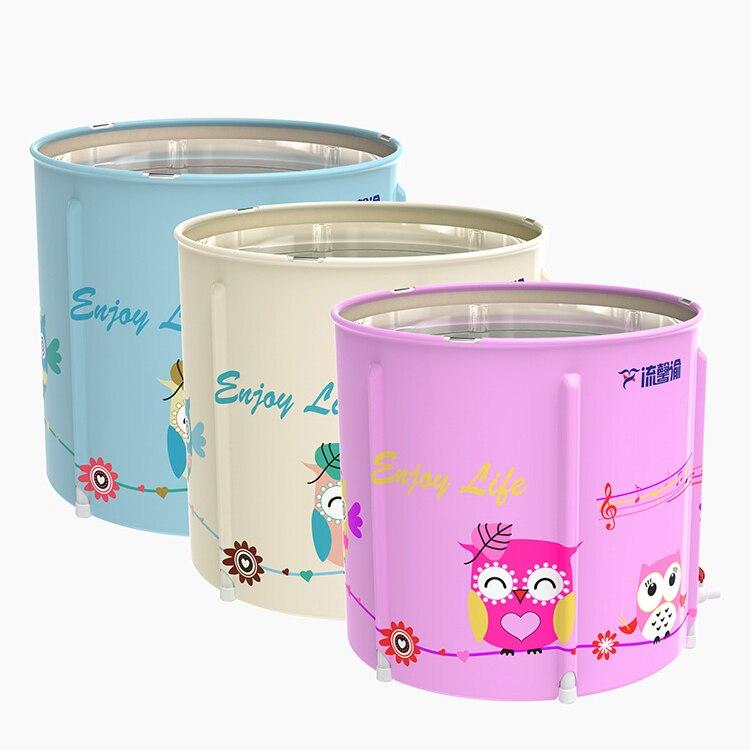 Flatable Foldable Baby Bathtub Portable Pink Thick Pattern Cute Bathtub Bucket Home BanheiraHousehold Merchandises DG50YP