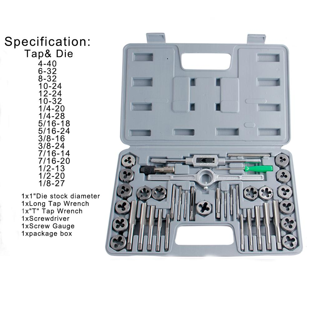 AKDSteel 40pcs Tap Die Set Hand Thread Plug Taps Handle Alloy Steel Inch Threading Tool With Case