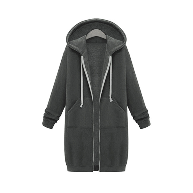 Once 2020 Autumn Casual Women Long Hoodies Sweatshirt Coat Zip Up Outerwears Hooded Jacket Winter Pockets Plus Size Outwear Tops 3