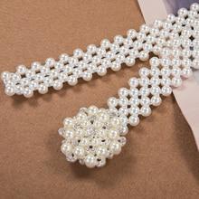 цена на Women Luxury Elastic Buckle Crystal Faux Pearl Waist Chain Girls Party Dress Rhinestone Pearl Belt Stretchable DiBanGu