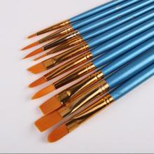 Синий 10 шт./компл. акварель гуашь Краски кисти разных Форма круглым заостренным кончиком набор нейлоновых волосяных Краски ing кисти комплект, принадлежности для живописи