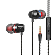 цена на Wired In-Ear headset Metal Earphones with Mic volume control Bass earbud 3.5 mm jack Stereo earpiece For PC Phone Headphones