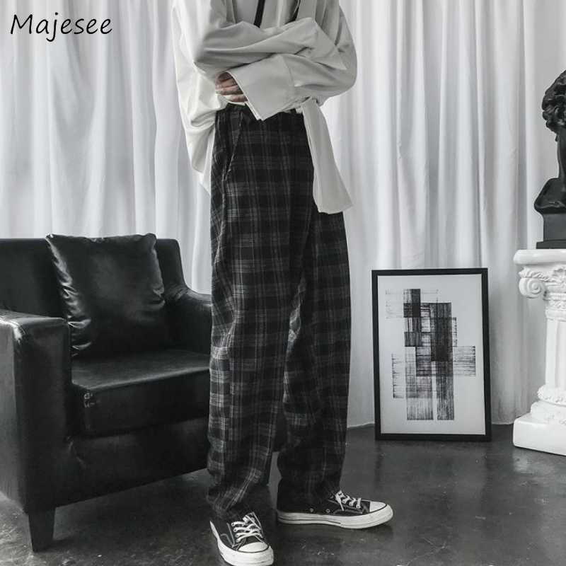 Casual Pants Men Plaid Loose Wide Leg Trousers Mens Simple Chic Korean Style All-match Ins Trendy Streetwear Harajuku Ulzzang