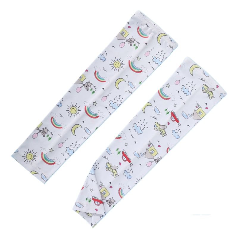 Kids Summer UV Protection Cartoon Dinosaur Ice Silk Cooling Arm Sleeves Cover