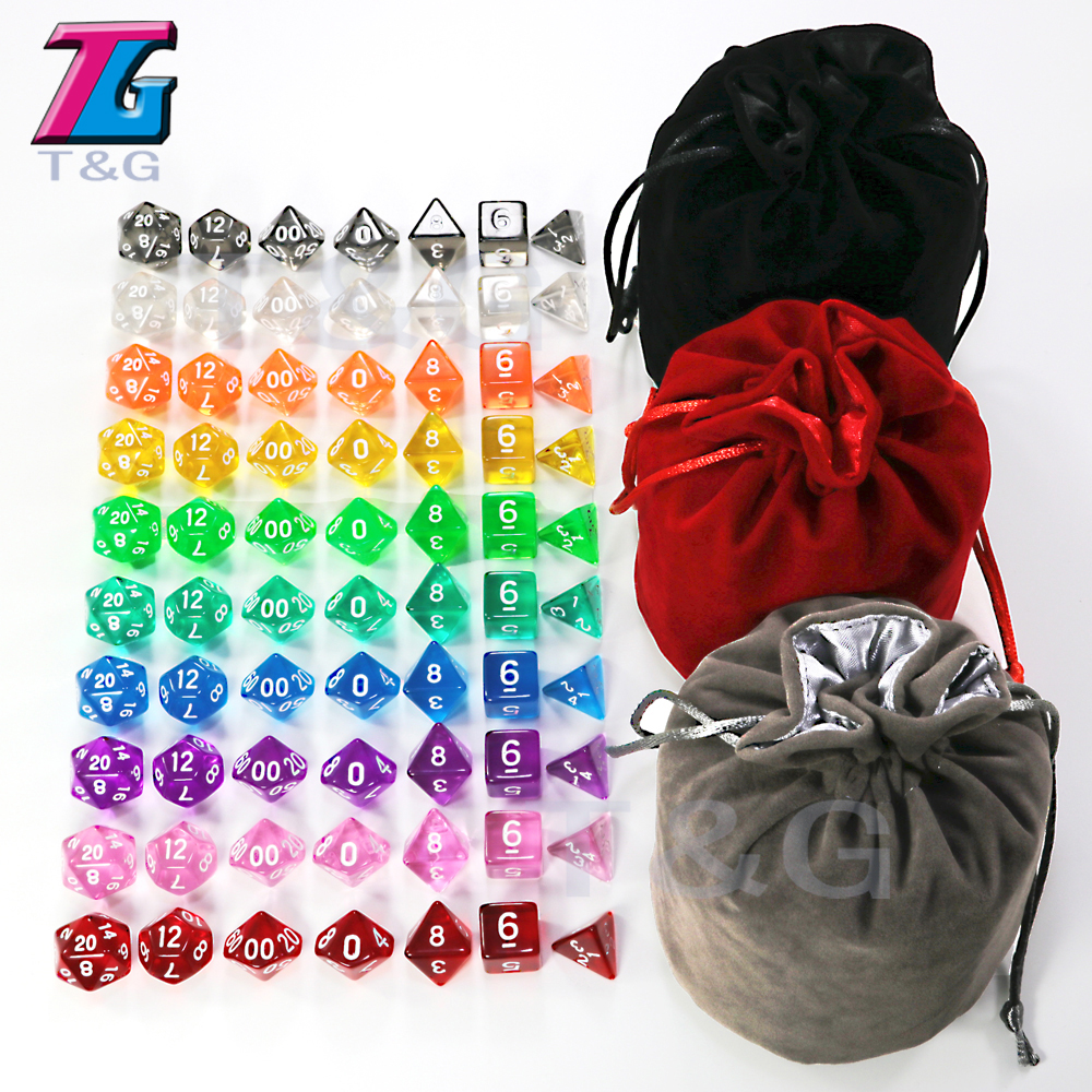 Sales10 Sets D&D Clear Dice Set D4 D6 D8 D10 D10% D12 D20 For Board Game Red Blue Yellow Purple Green High Quality