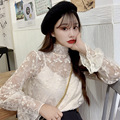 Autumn And Winter 2019 New Style Korean-style Immortal Hollow out Small Stand Collar Versatile Bell Sleeve Lace Base Shirt Women
