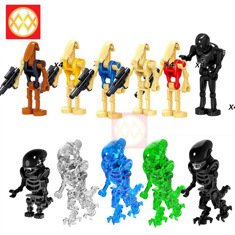 Building-Blocks Egg Skeleton Horror Alien Children Toys Predator Friends-Bricks Movie