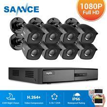 SANNCE 8CH 1080P 2.0MP HD טלוויזיה במעגל סגור מערכת וידאו מקליט 8PCS 1080P אבטחת CCTV מצלמה עמיד למים ראיית לילה מעקבים ערכות