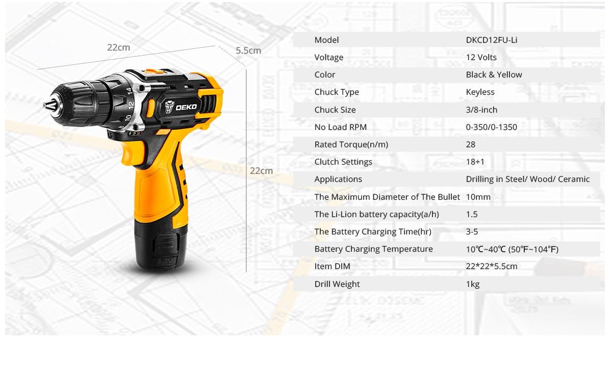 Destornillador eléctrico DEKO- DKCD12/16/20V, bateria inalámbrico
