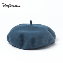 100% wool Vintage Warm Wool Winter Women Beret French Artist Beanie Hat Cap For Men spring and autumn hats big Size 58-60cm