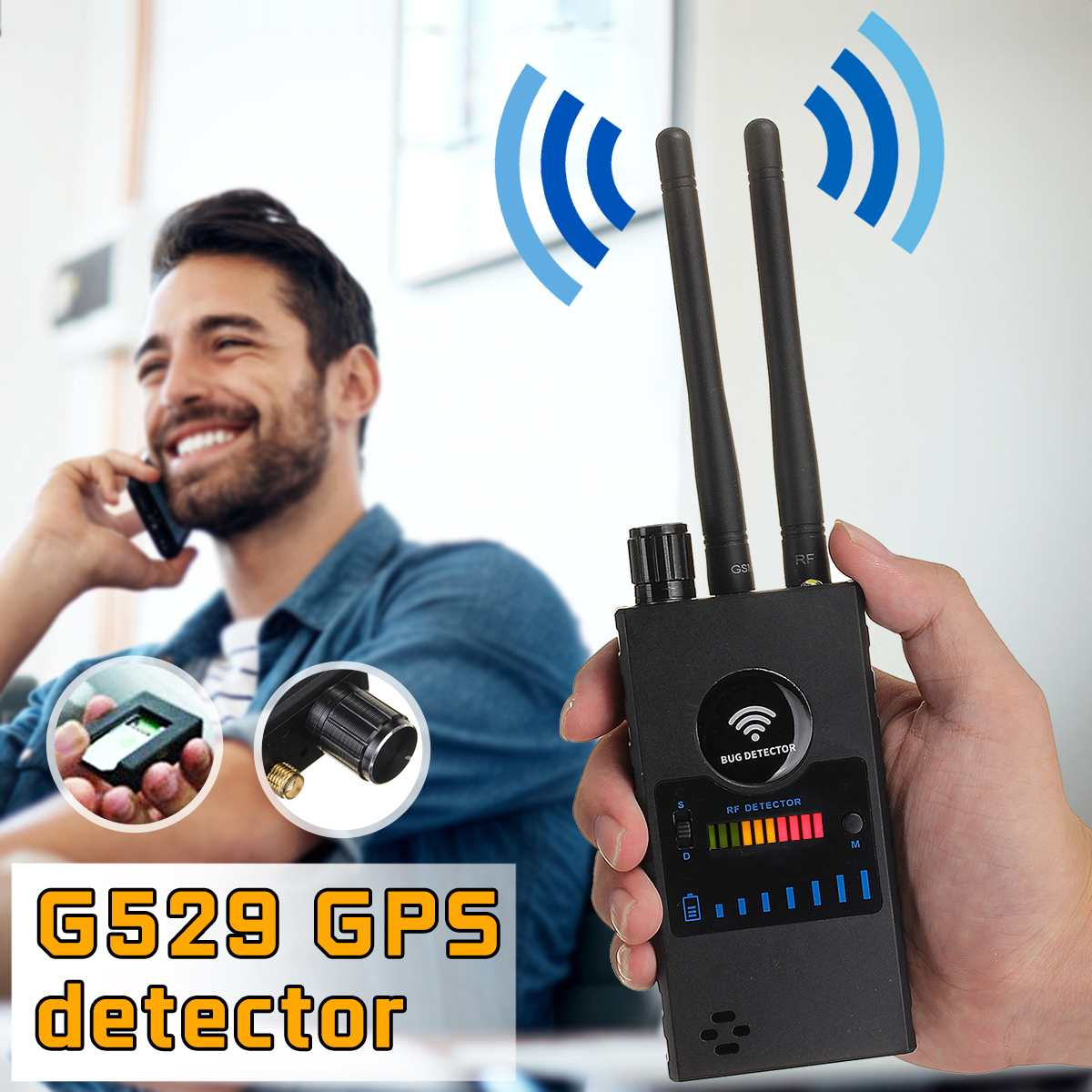 Dual Antenna Anti-Spy GPS Magnetic Wireless Camera Detector Signal Automatic Finder Racker Frequency Scan Sweeper Protect