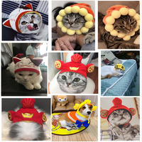 8pcs Pet Christmas Costume Hat Gift Dog Cat Headwear With Sticker Funny Animal Costume Hat Pet Soft Headgear for Festival