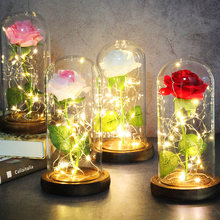 Artificial Eternal The Beast Beauty Rose Eternelle Flower In Glass Dome LED Home Decor Mother's Birthday Valentines Day Gift