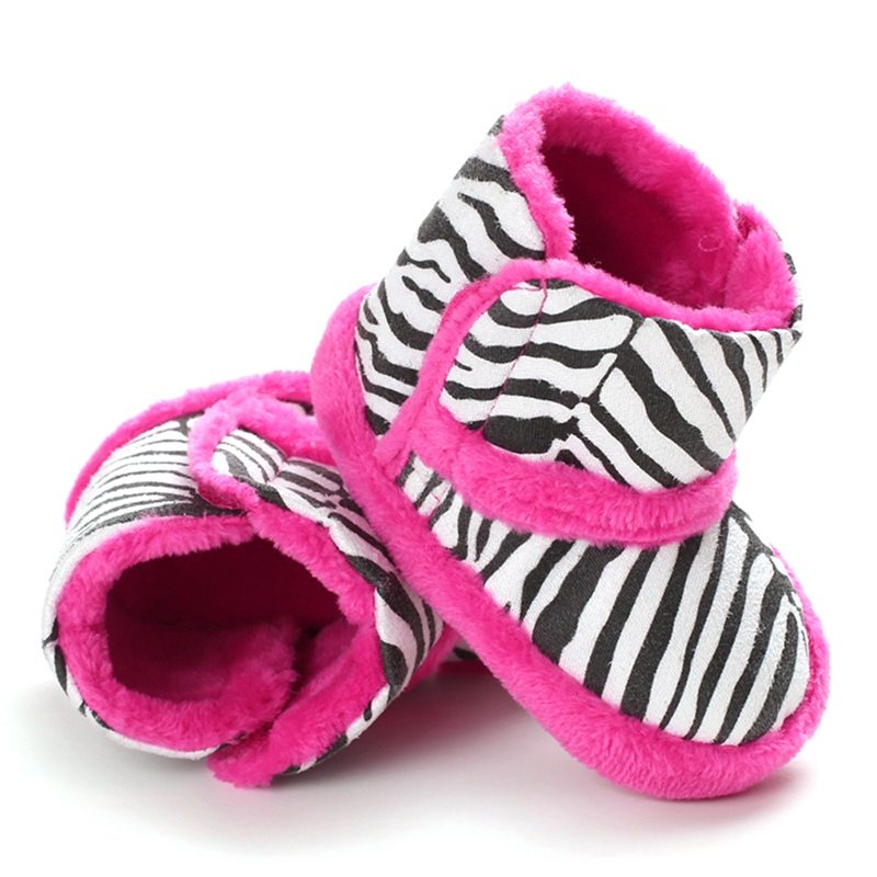 Winter Warm Baby Boots Casual Zebra Pattern Print Thicken Velvet Children  Shoes  For Boy Girl