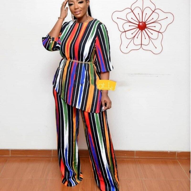 2020 Новые африканские принты эластичные Bazin мешковатые брюки рок стиль Дашики рукав известный костюм для женщин топ и леггинсы 2 шт/se|Африканская одежда|   | АлиЭкспресс