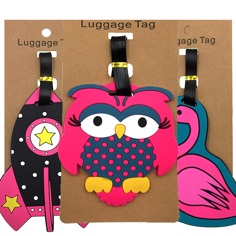 Creative Animal Owl Luggage Tags Portable Suitcase ID Addres Holder Silica Gel Baggage Boarding Women Label Travel Accessories