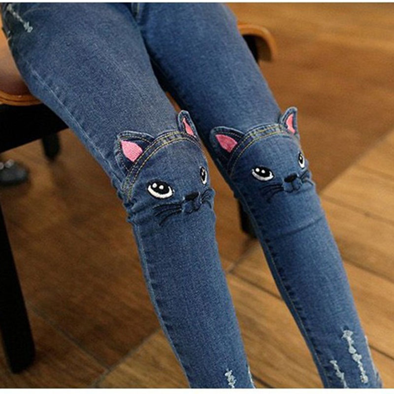 Spring Autumn Girls Jeans Children's Clothing Kids Cat Embroidered Jeans Kids for 3-12 Years 2