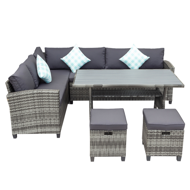 5 Pieces Outdoor Furniture Rattan Chair & Table Patio Set  3