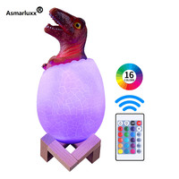 Velociraptor Dinosaur Egg 3D Night Light Rechargeable Control Lamp 3 or 16 Colors Change Remote LED Light Gift Creative Lamp