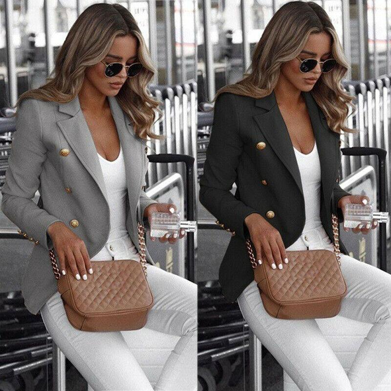 Plus Size Women's Long Sleeve Button Blazer Work Office Lady Jacket Coat Outwear Top Suit US