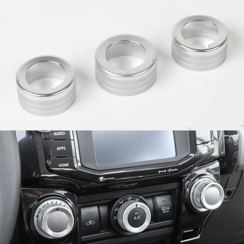 3Pcs/set Car Air Conditioner Adjust Knob Switch Ring For Toyota <font><b>4Runner</b></font> <font><b>2010</b></font>+ Car Styling Mouldings image