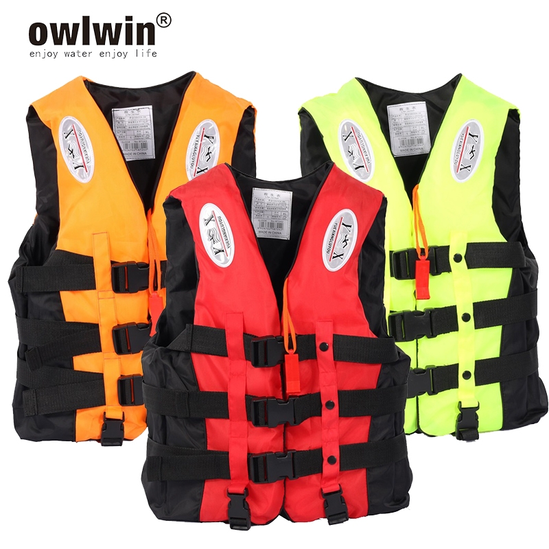 Universal Outdoor Swimming Boating Skiing Driving Vest Survival Suit Polyester Life Jacket for Adult Children with Pipe S -XXXL