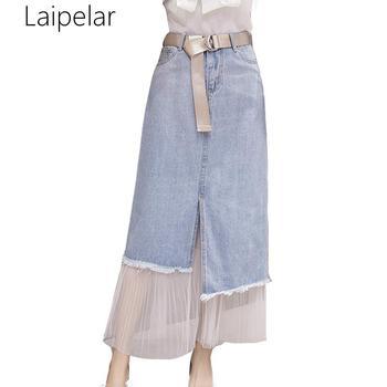 Denim Patchwork Mesh Skirts Women Summer High Waist Skirts Medium Long Skirts Jeans Casual Sweet Ladies Slim A-Line Skirts фото