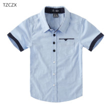 Акция; Лидер продаж; Детские рубашки; повседневные однотонные хлопковые рубашки с короткими рукавами для мальчиков; От 4 до 12 лет школьная одежда