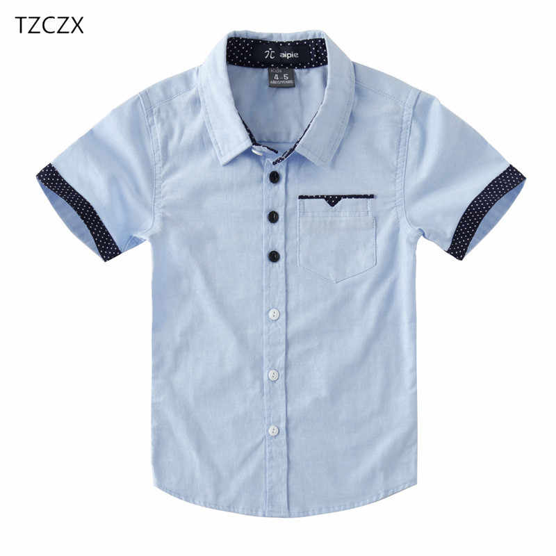 Promotion Hot Sale Children Shirts Casual Solid Cotton Short-sleeved Boys shirts For 4-12 Years Students wear in school