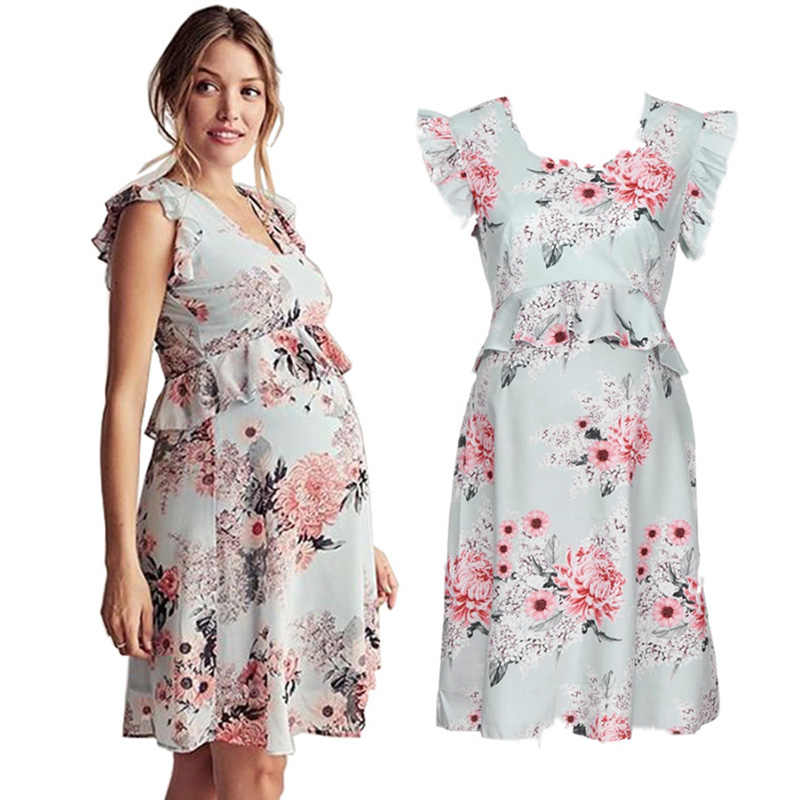 Fashion Women Pregnant Women Dresses Flower Printed O-neck Lace Sleeve Large Maternity Dress Nursing Pregnancy Casual Clothes