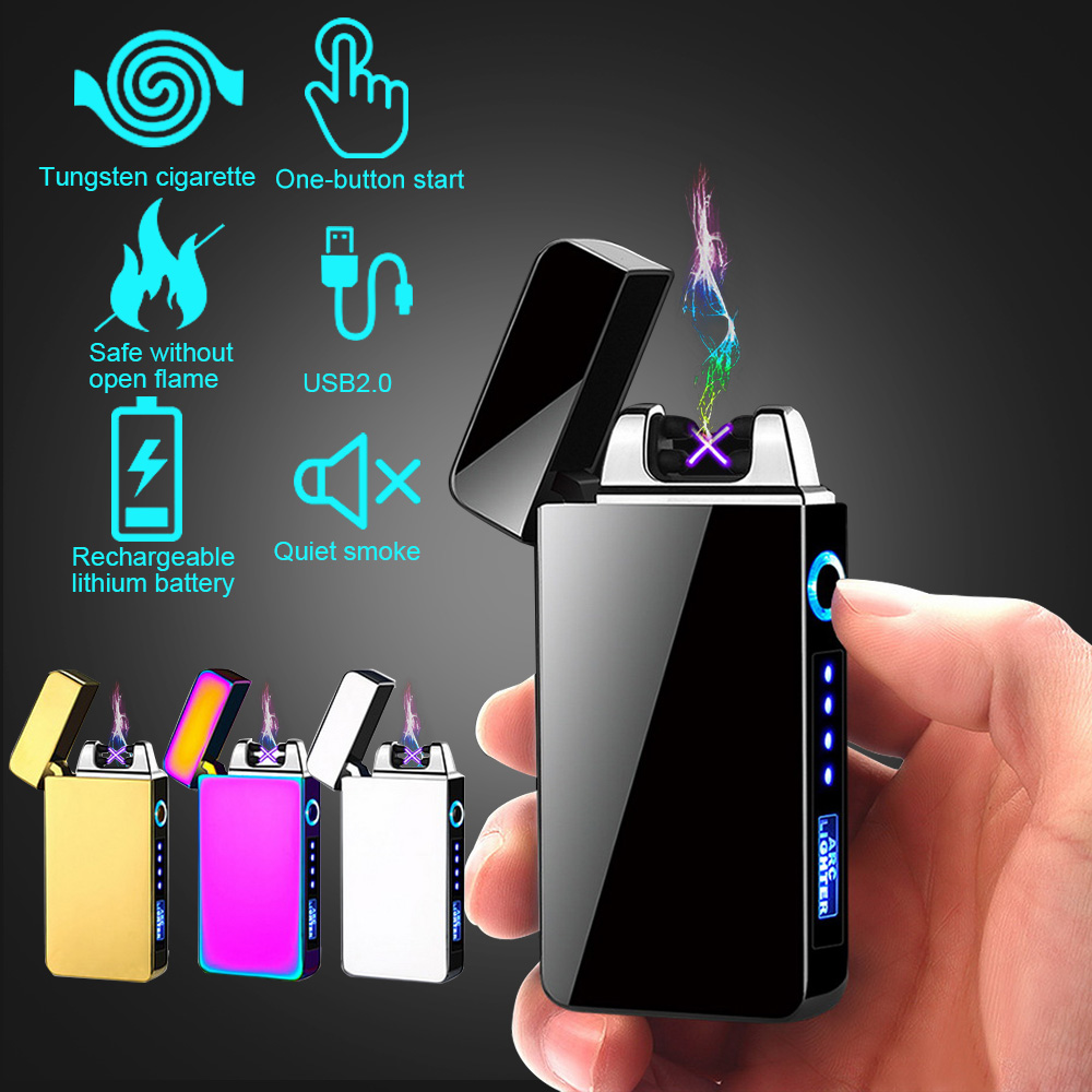 Plasma Cigar Lighter Windproof Lighter Horse Light Lightning Display Electric Lighter USB Charging Electronic Pulse Lighter Hot|Lighters| |  -