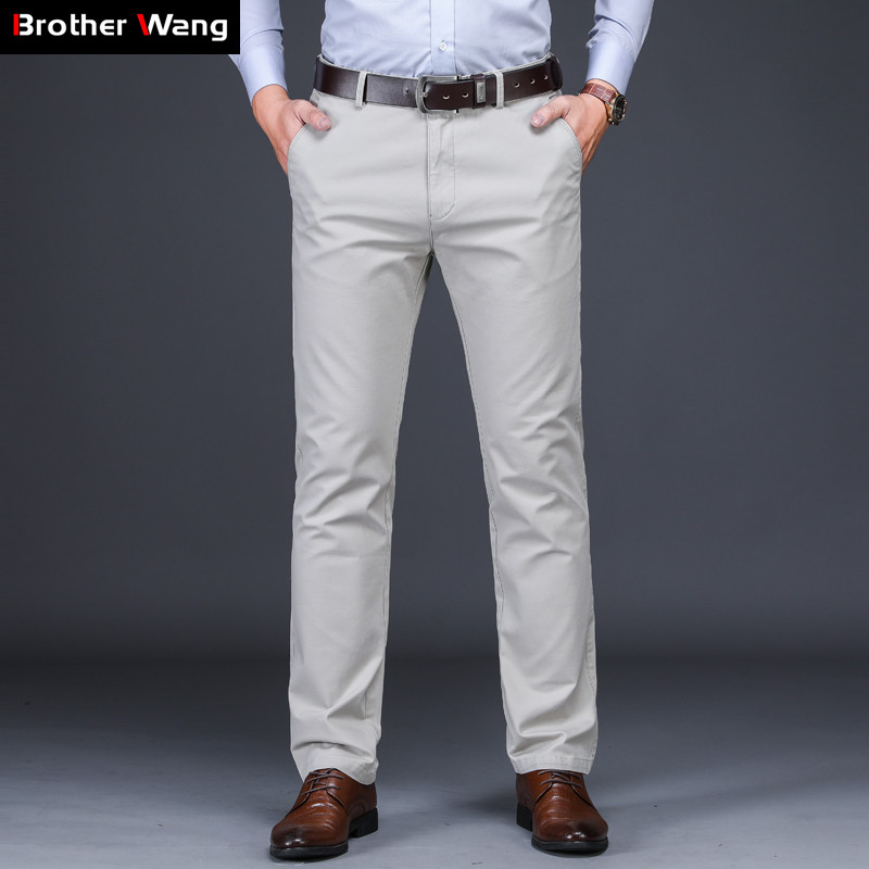 6 Color Men Casual Pants 2019 Autumn And Winter New 97% Cotton Straight Elastic Trousers Brand Beige Khaki Large Size 40 42 44