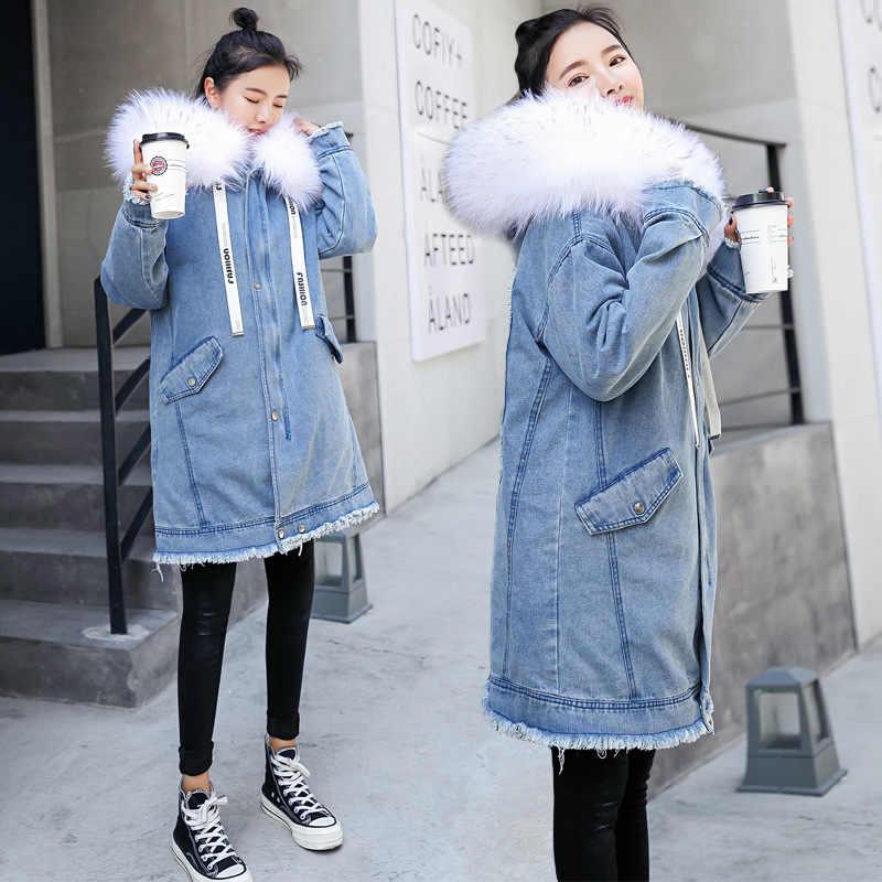 Jeansowa kurtka jesień płaszcz zimowy kobiety ubrania 2020 koreański Vintage kurtka dżinsowa parki z futrzanym kołnierzem ciepłe grube parki topy ZT4493