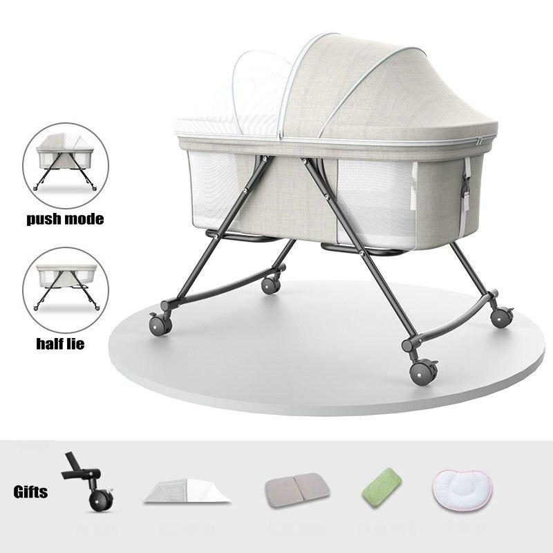 Cama de viagem portátil com rede mosquiteira, berço de bebê de 4 rodas, pode mudar para o berço de balanço, berço de bebê recém-nascido simples