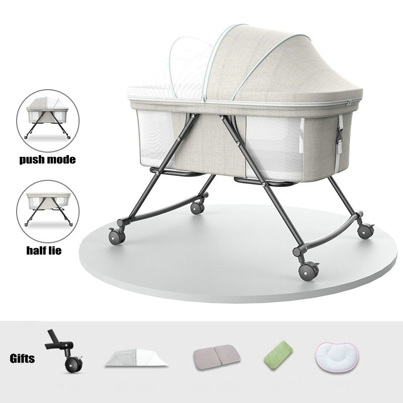 Portable Travel Bed with Mosquito Net, 4 Wheeled Baby Bassinet, Can Convert To Rocking Cradle, Simple Infant Crib