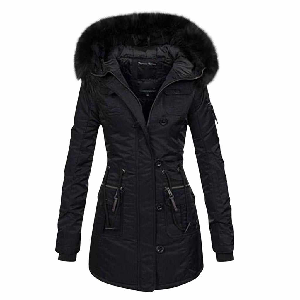 Womens Ladies Winter Hooded Coat Thick Parka Overcoat Button Long Jacket Outwear
