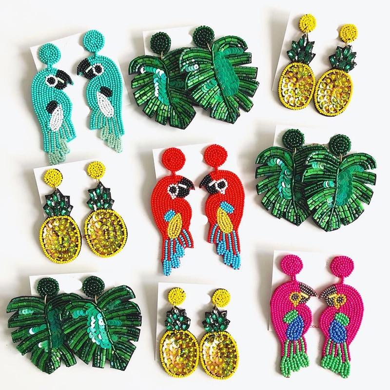 Dvacaman Boho Handmade Beaded Leaf Parrot Pendant Earrings for Women 2019 New Design Wedding Jewelry Korean Drop Dangle Earrings