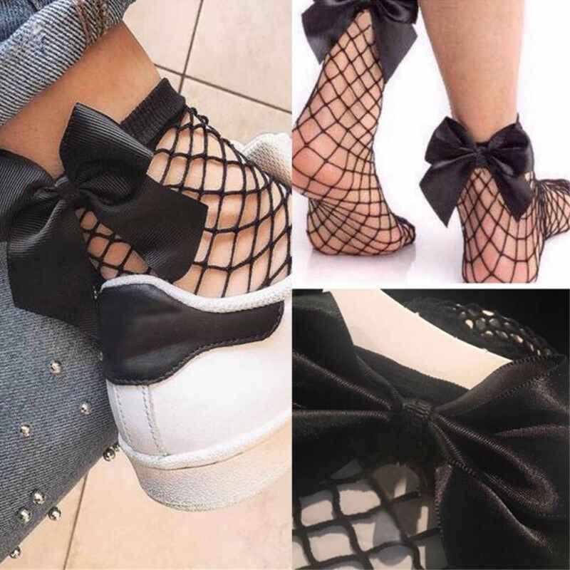חדש אופנה בנות רשת דייגים גרביים למתוח Sheer רשת דייגים נטו גרבי רשת קרסול גבוהה Bowknot נוחות