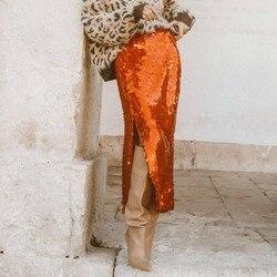 Arancione Gonne Delle Donne Paillettes Autunno Fessura del Lato Lungo Bling Bling Più Il Formato Da Sera Gonne