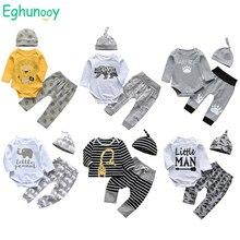 Bebê recém-nascido infantil roupas do menino algodão manga longa impressão dos desenhos animados macacão casual pant hat 3pcs conjunto de roupas