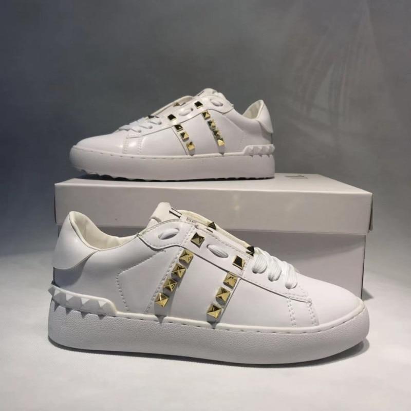 2020 Women Lace Up Flat Women's Round Toe Sewing Woman Rivet Platform Female Comfortable Shoes Ladies Vulcanized Plus Size 44