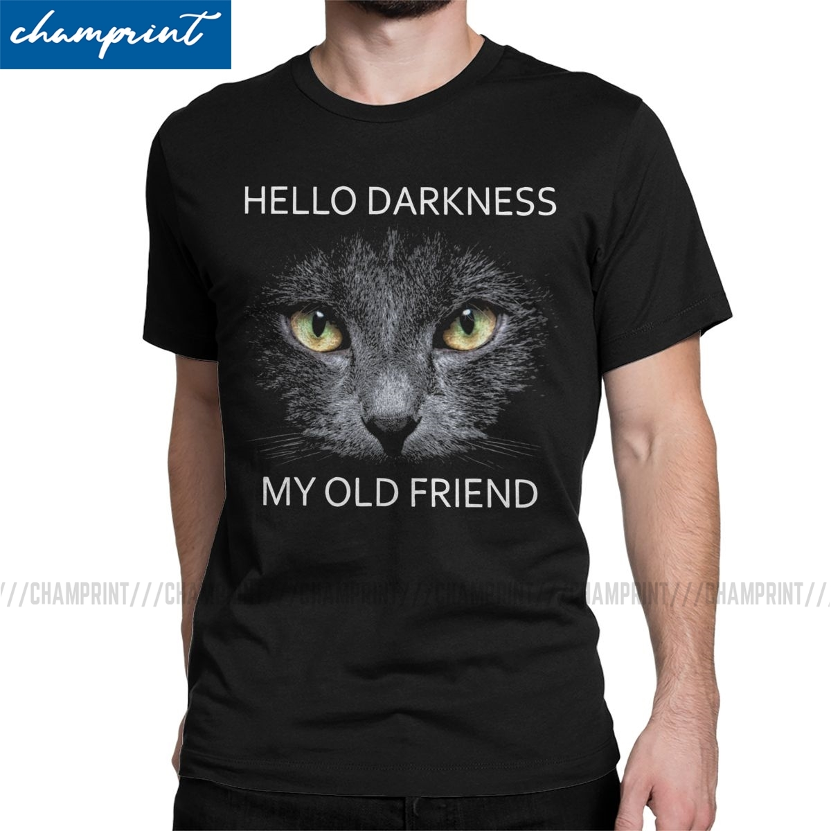 Hello Darkness My Old Friend T Shirt Men's Cotton Funny T-Shirts Crew Neck Pet Animal Cat Tee Shirt Short Sleeve Clothes Graphic image