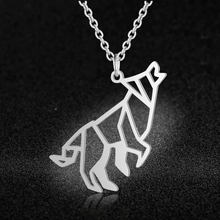 100% Real Stainless Steel Hollow Roaring Wolf Necklace Super Quality Personality Jewelry Unique Animal Jewelry Necklace(China)