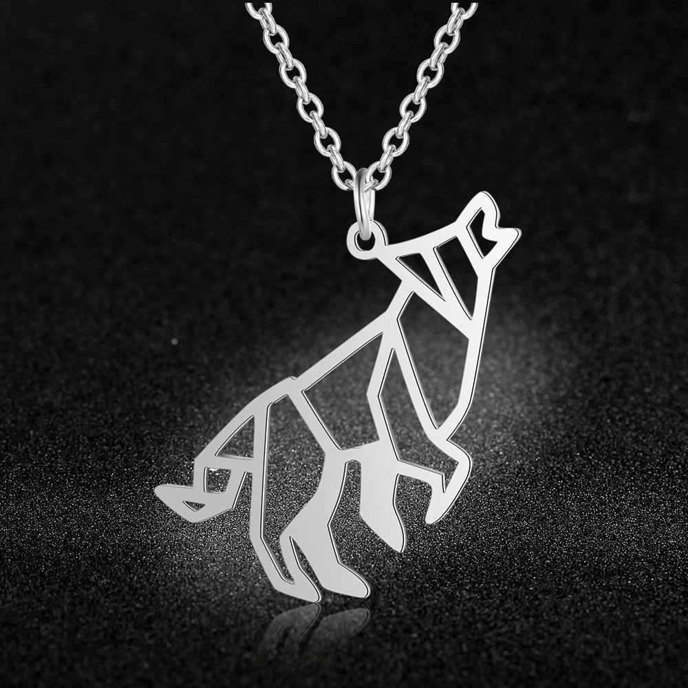 100% Real Stainless Steel Hollow Roaring Wolf Necklace Super Quality Personality Jewelry Unique Animal Jewelry Necklace