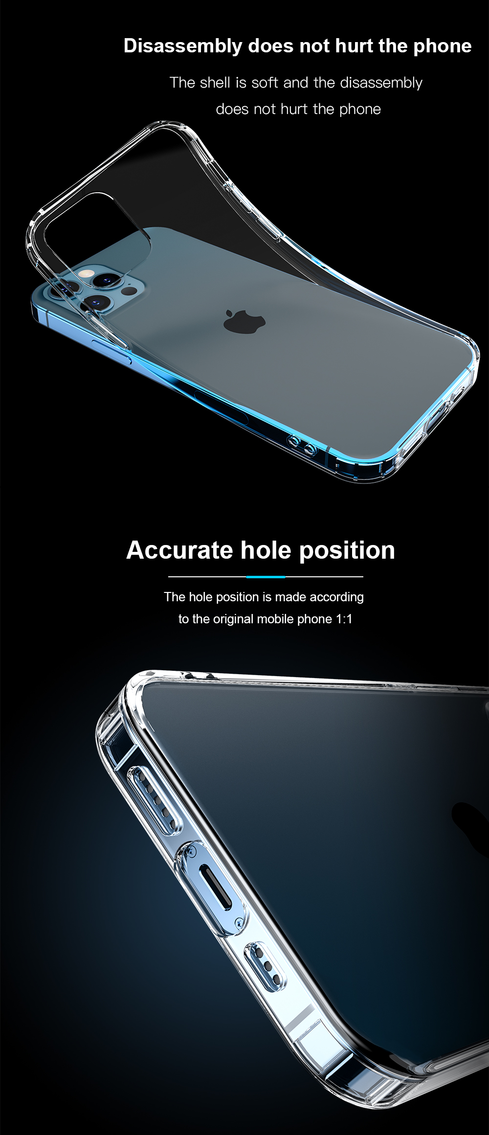 Ultra thin Clear Back Cover Transparent Phone Case For iPhone 12 Mini